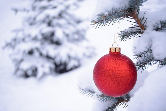 eine rote weihnachtskugel und ein baaum mit schnee - romantische winterbilder