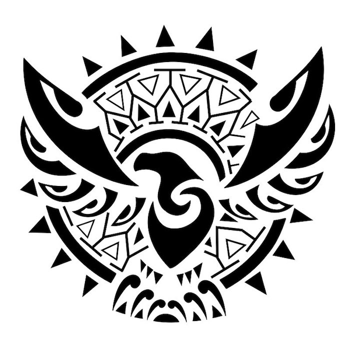 ein fliegender schwarzer vogel mit . zwei langen schwarzen flügeln - ein großer schwarzer maori tattoo