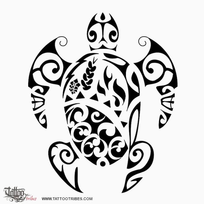 große schwarze schildkröte mit zwei schwarzen augen - idee für einen großen schwarzen maorie tattoo