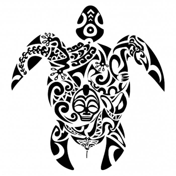 totenkopf und eine große schwarze schildköte und kleine schwarze blumen - idee für einen maorie tattoo