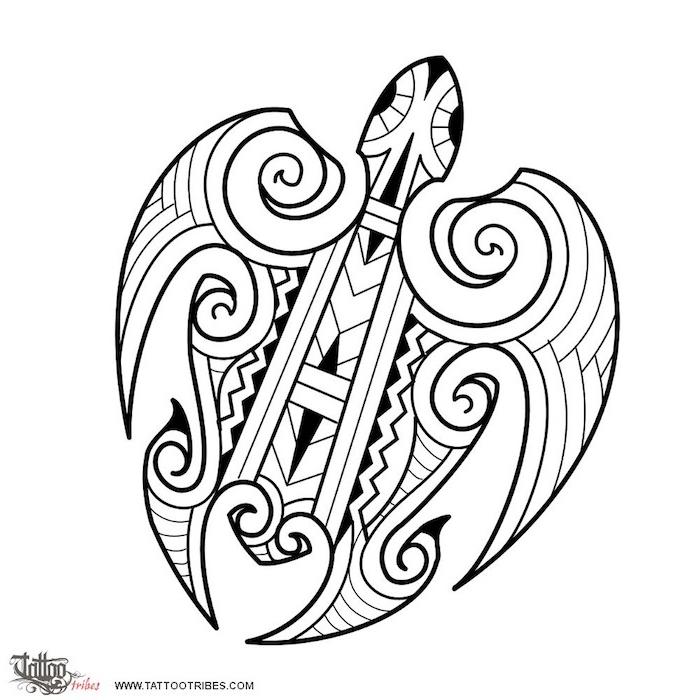 eine weiße schildkröte mit zwei schwarzen augen - idee für einen großen maori tattoo