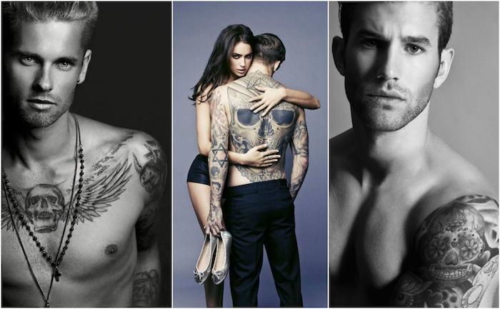 totenkopf tattoo bedeutung - drei männer mit schwarzen tattoos mit schädeln und eine junge frau