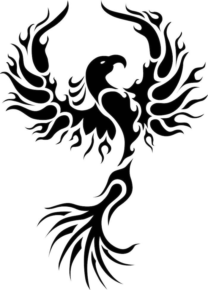 ein großer fliegender schwarzer phönix mit zwei schwarzen flügerln mit schwarzen federn und weißen Augen, Tattoo Motive Phönix