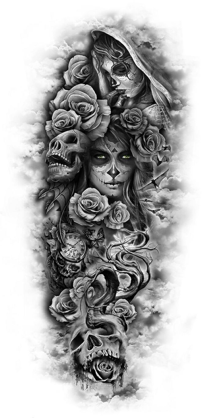 totenkopf mit rosen tattoo - junge frauen und graue totenköpfe und viele große graue rosen