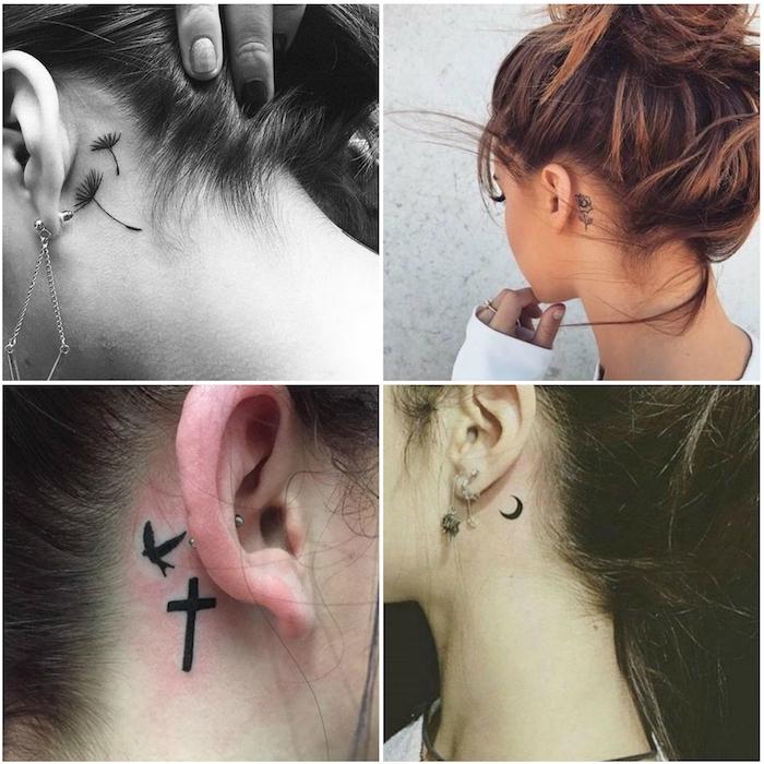 vier bilder mit jungen frauen mit tattoos hinterm ohr mit kleinen schwarzen blumen, einem kleinen schwarzen halbmond, einer schwarzen rose und einem fliegenden schwarzen vogel