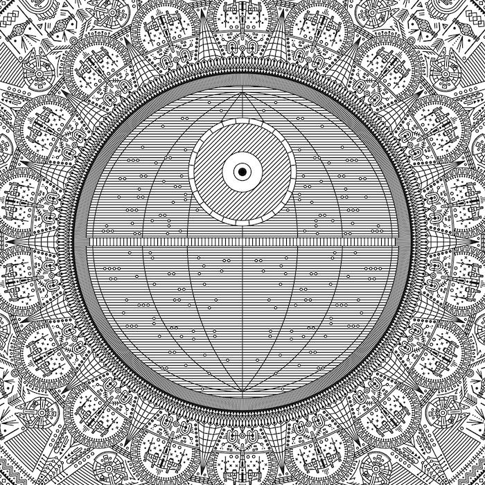 ein großer mandala tattoo mit vielen kleinen schwarzen mandala und star wars motiven - star wars tattoo mit sonnen, planeten und schwarzen kleinen raumschiffen