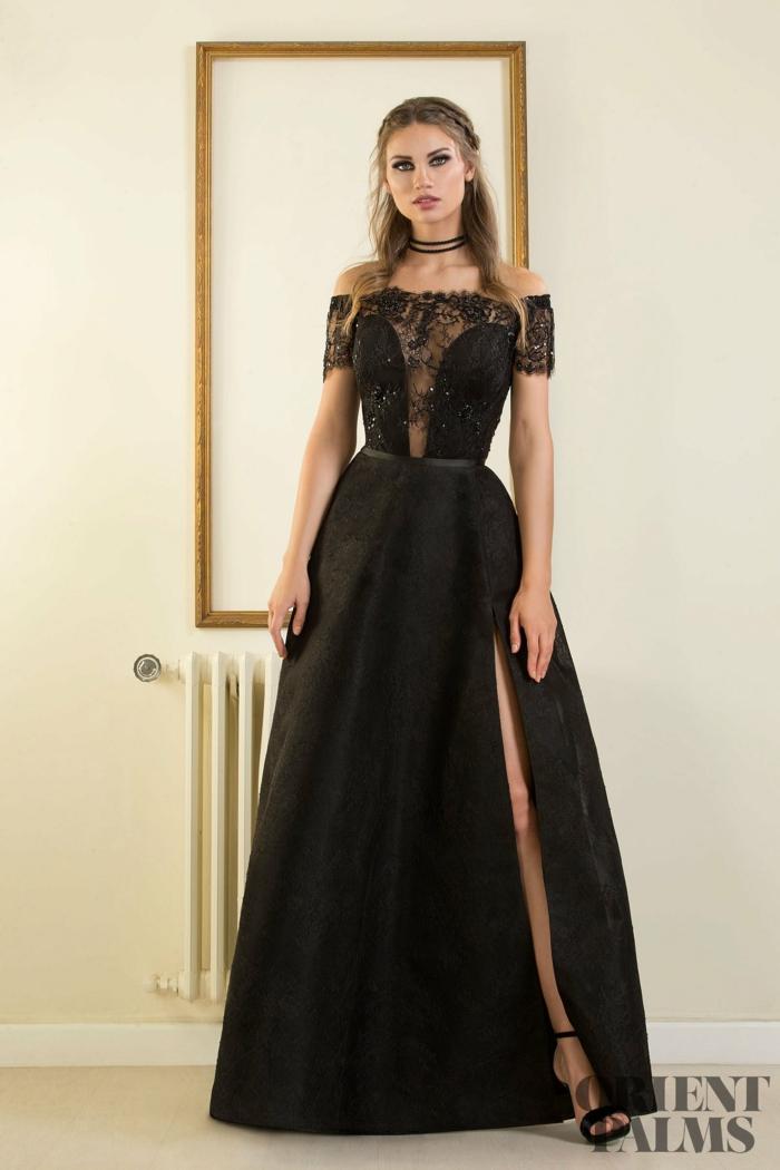 Schwarzes Abendkleid mit Schlitz und Spitzenelementen am Oberteil, rückenfreies A-Linien Kleid