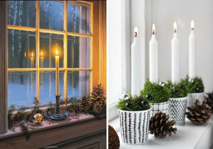 Fotocollage zum Thema Fensterbank weihnachtlich dekorieren - Deko aus Tannenzweigen und riesigen Zapfen, große brennende Kerze, schwarzer Kerzenleuchter aus Edelstahl, großer Weihnachtsbaumkugel in Goldfarbe, Widerspigelung der Kerzenflamme im Fenster, vier brennende Kerzen, gestellt in vier weßen Papierbechern, gefüllt mit grünem Grass und kleinen schwarzen Kugeln, vier kleine Zapfe am weißen Fensterbrett