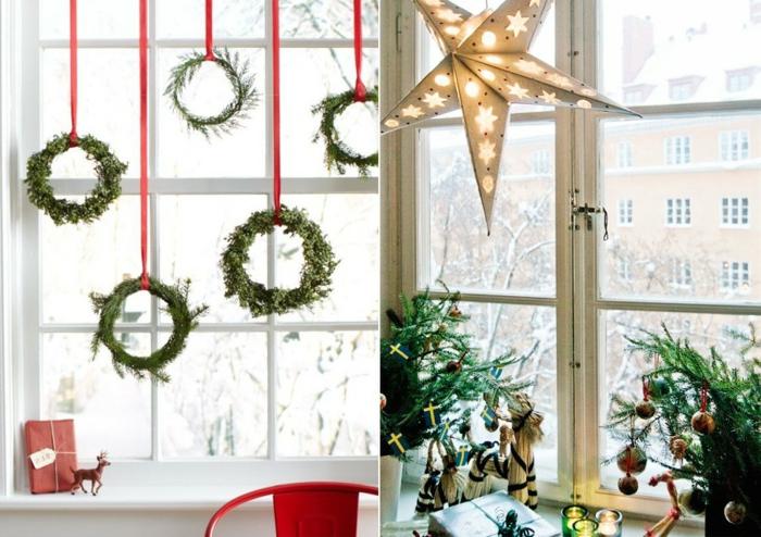 zwei Fotos mit Weihnachtsdeko-Ideen- Fenster mit fünf Adventskränzen, die an roten Bändern hängen, kleines Weihnachtsgeschenk verpackt in rotem Geschenkpapier und verziert mit einer dünnen Schleife mit Namenskarte, kleine Hirschfigur neben dem Weihnachtsgeschenk in roter Verpackung, roter Sthul aus Metall, großer Papierstern mit Löchern in der Form von Sternen, Fichtelzweige verziert mit kleinen vergoldeten Kreuzern und kleinen Christbaumkugeln, Geschenke in schöner Weihnachtsverpackung, Kronleuchter aus Papier in der Form eines Sterns