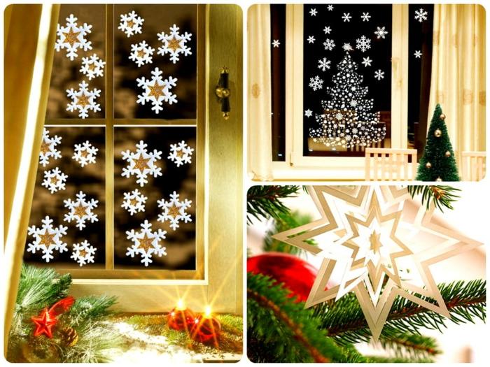grüne Nadelbaumzweige mit roten Sternen, Fenster mit Schneeflocken-Stickern, lange gelbe Gardine, großes Fnster mit drei Flügeln, verziert mit einem Weihnachtsbaum-Kleber und vielen Shneeflocken-Klebern, kleiner Tannenbaum mit goldenen Kugeln, zwei weiße Stühle vor dem Fenster, Christbaum mit weißem Papier-Stern und einem roten Weihnachtsbaumkugel