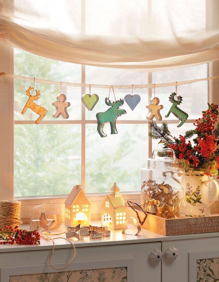 fensterdeko weihnachten schöne hängende weihnachtsspielzeuge renntier herz männchen hä