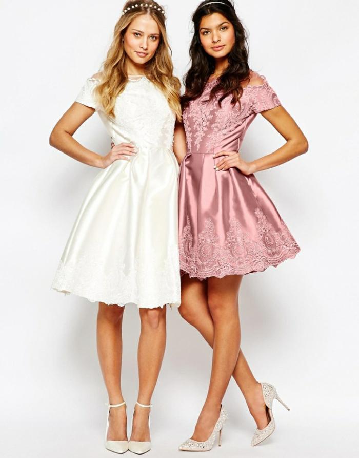 Kleider für Brautjungfern in Pastelltönen, mit kurzen Ärmeln, kurze Festkleider in Weiß und Zartrosa