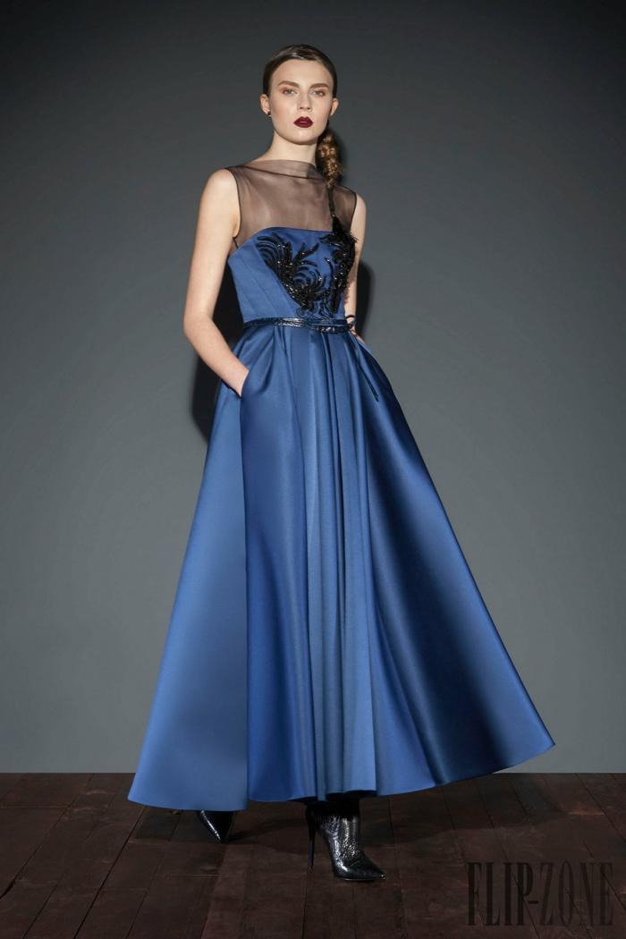 Dunkelblaues Abendkleid mit schwarzen Perlen verziert, A-Linien Kleid mit schwarzem Gürtel