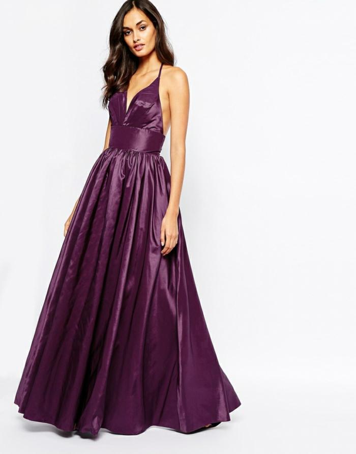 Lilafarbenes bodenlanges Abendkleid mit Spaghetti-Trägern, elegantes A-Linien Kleid für besondere Anlässe