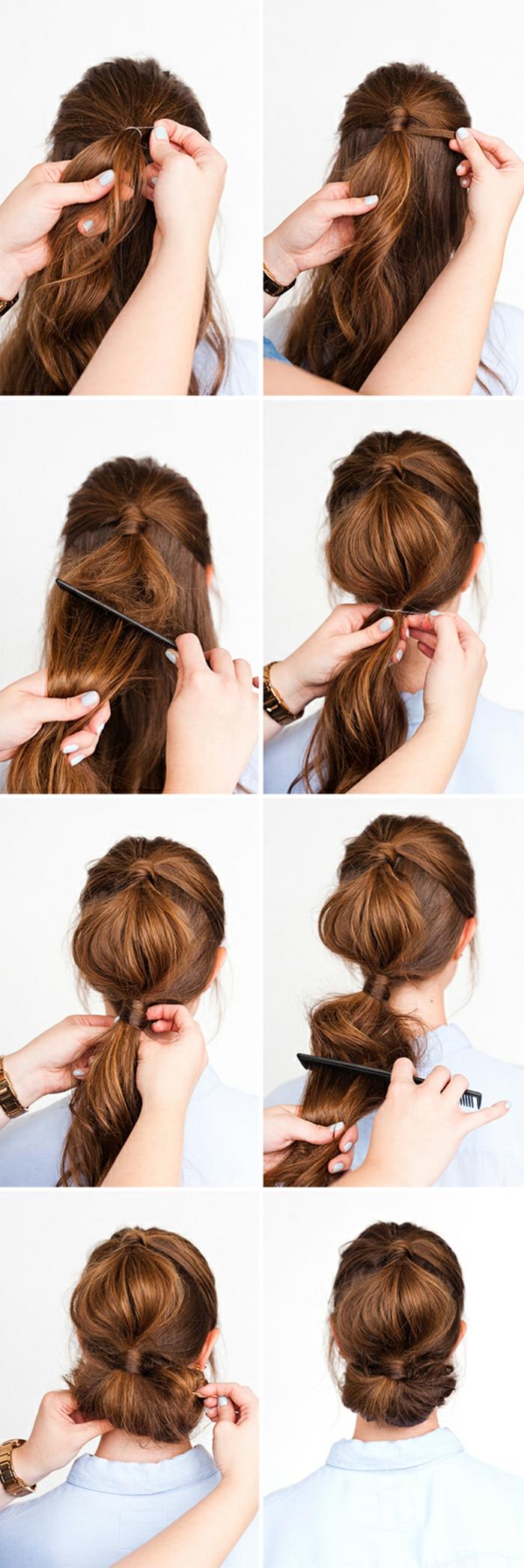 Schicke Hochsteckfrisur zum Nachstylen, ausführliche Anleitung in Bildern, Frisur für lange Haare