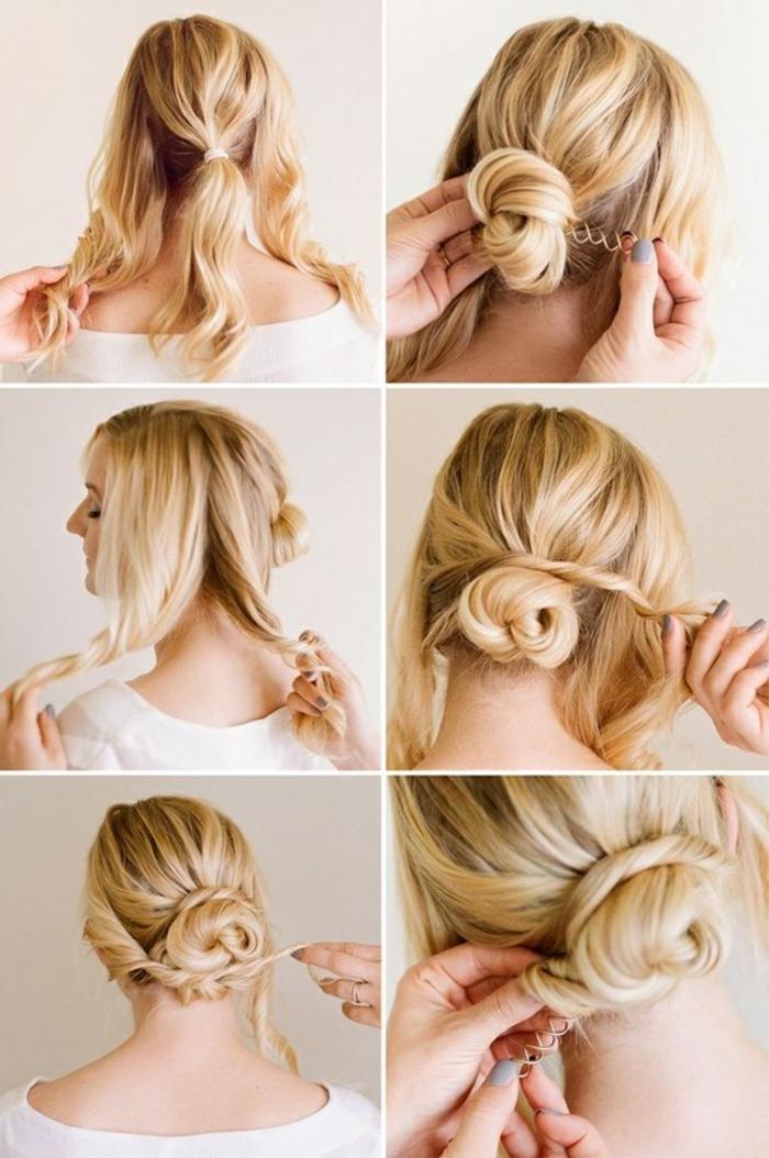 Einfache Dutt Frisur zum Nachstylen, Schritt-für-Schritt Anleitung in Bildern, Frisur für jeden Tag