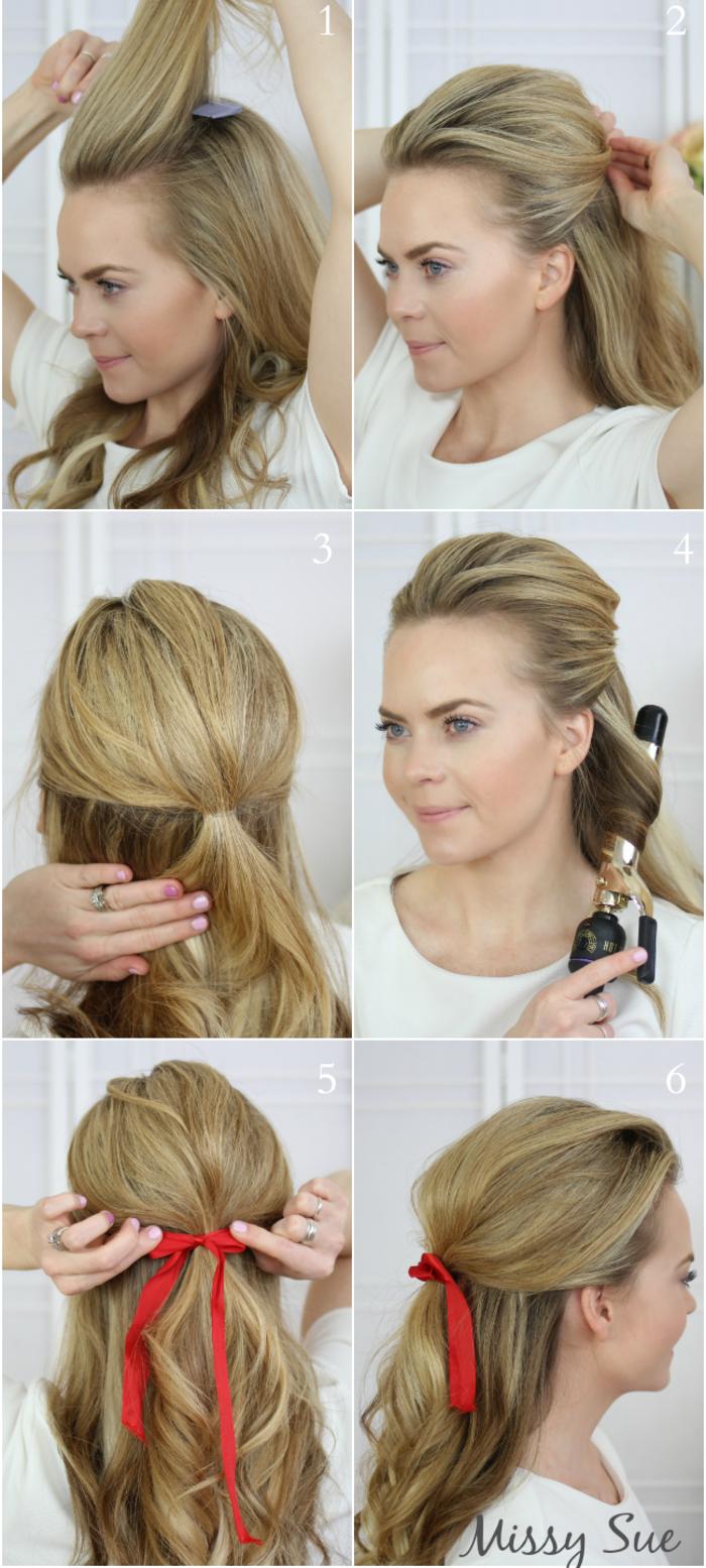 Einfache Frisur zum Nachstylen, ausführliche Anleitung in Bildern, Frau mit langen dunkelblonden Haaren