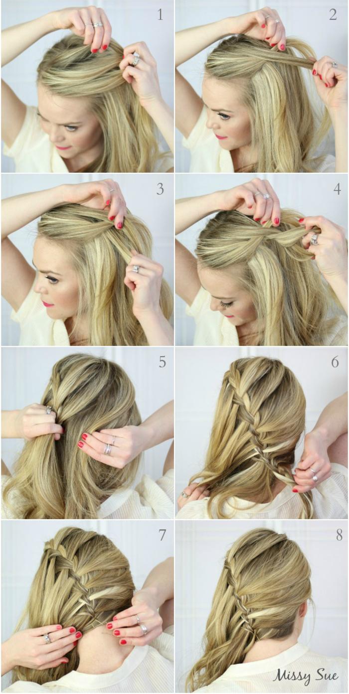 Schritt-für-Schritt Anleitung für schicke Flechtfrisur, Frisur für lange und mittellange Haare zum Nachstylen