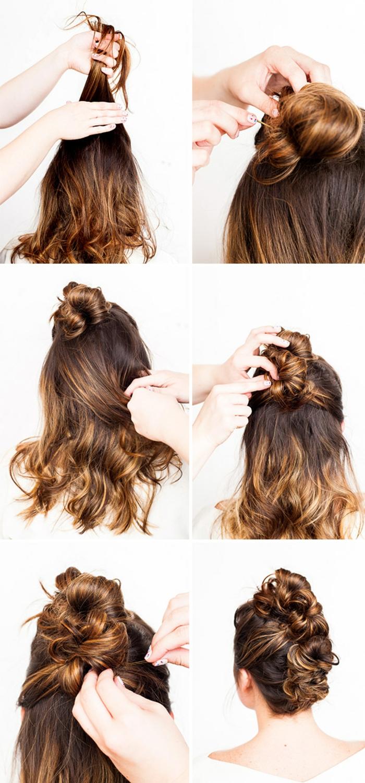 Hochsteckfrisur selber machen, ausführliche Anleitung in Bildern, elegante Frisur für lange und mittellange Haare