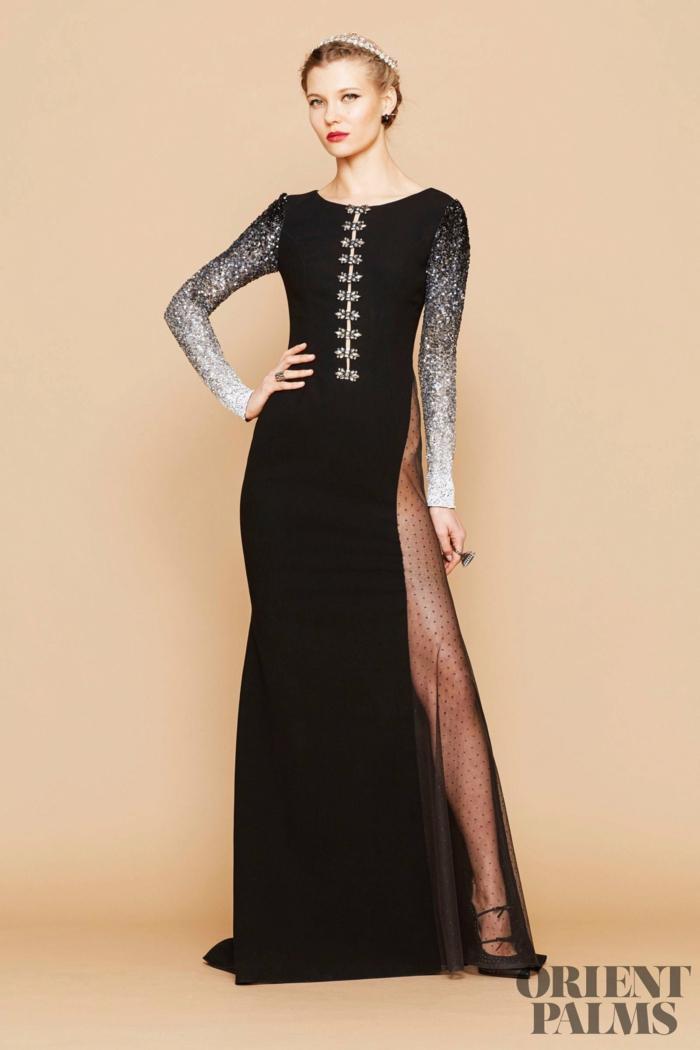 Schwarzes bodenlanges Kleid mit Schlitz und Glitzer-Ärmeln, Idee für Silvester Outfit, elegantes Abendkleid