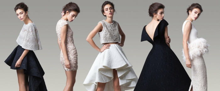 Elegante Abendkleider in Schwarz und Weiß, verschiedene Modelle für besondere Anlässe, Ideen für Silvester Outfit