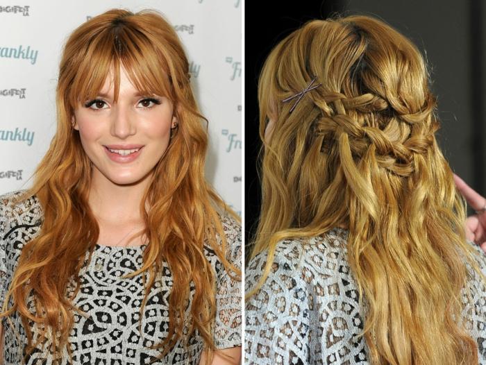 Schnelle und einfache Flechtfrisur für lange und mittellange Haare, Haarfarbe Kupfer, leichtes Tages-Make up