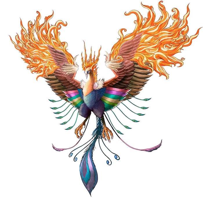 skizze mit einem bunten tattoo mit einem fliegenden phönix mit violetten, blauen, grünen und gelben federn und brennenden flügeln