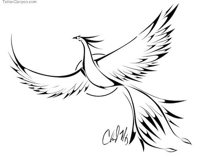 phönix bilder tattoo - ein fliegender weißer phönix mit schwarzen flügeln mit schwarzen und weißen federn