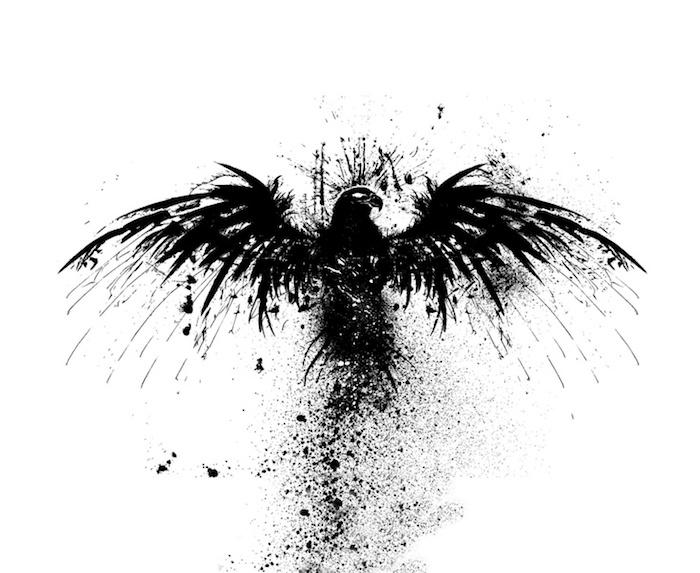 ein schwarzer phönix mit schwarzen flügeln und schwarzen federn und weißen augen - phönix bilder tattoo