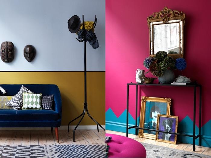 zwei Beispiel für provokante Einrichtungsideen für den häuslichen Eingang, Eingang mit einer Wand, gestrichen in hellblau und dunkelgelb, beide Farbe sind von einer schmalen schwarzen Linie getrennt, an der hellblauen Wandhälfte hängen zwei dekorative Gesichtsmasken aus Holz, vor der Wand ist eine Polstercouch in dunkelblau mit kurzen braunen Beinen aus Holz, dunkelblaue Couch mit vielen kleinen Deko-Kissen mit bunten Bezügen, Flurhänger aus Holz, an der ein schwarzer Hut und zwei Schals aufgehängt sind - ein dunkelblauer und ein gelber Schal, Musterteppich in hellgrau und Dunkelblau auf einem Holzboden, pinke Wand mit blauen Bergmotiven, Vintage-Spiegel mit einem Rahmen, verziert mit schönen Holzschnitzereien, ein schmaler schwarzer Tisch mit dekorativen Blumen aus Stoff und einer weißen Kanne, Porträtbild von einem Mädchen mit blauem Hintergrund, umrahmt mit einem Rahmen mit Goldüberzug und schönen Ornamenten, Porträt von einem Hund mit schwarz-weißer Haut, grauer Musterteppich auf dem Holzboden, Polsterhocker in pinker Farbe
