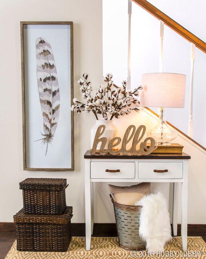 Treppenhaus in cremeweiß mit einem kleinen weißen Holztisch mit dunkelbrauner Tischplatte und zwei kleinen Schubladen mit braunen Griffen, Leselampe mit weißem Lampenschirm und Glasstand, gestellt auf einem dicken Buch, weiße Vase mit frischen Blumen, Hello-Dekoartikel aus Holz, Wäschekorb mit einem Kissen in Beige und einer weißen kuscheligen Plüschdecke, gestellt unter dem Holztisch, zwei Aufbewahrungskörbe aus Flechtholz in zwei Größen, schmaler Wandbild mit einem Vogelfeder mit drei Farben, umrahmt mit einem braunen Rahmen, gelber Teppich mit weißem Print, Treppenhaus mit dunkelbraunem Boden, weiße Holztreppen mit Holzgeländer