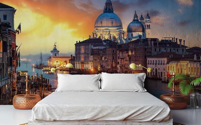 Fototapete Schlafzimmer - Sonnenuntergang über der Stadt