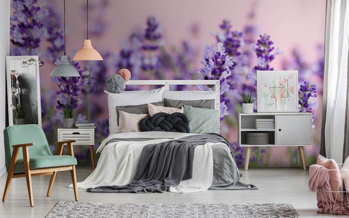 lila Ambiente im Schlafzimmer - Fototapete Schlafzimmer