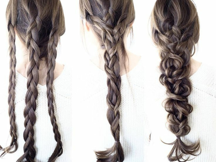 sehr lange dünne Haare flechten, Flechtfrisuren für dünne Haare, drei Zöpfe in einem flechten, drei Standard-Zöpfe, die ineinander geflochten sind, großer locker geflochtener Zopf