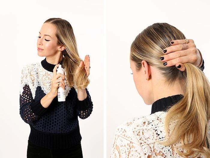 Schritt für Schritt Anleitung für niedrigen Knoten, schnelle und einfache Frisuren für den Alltag