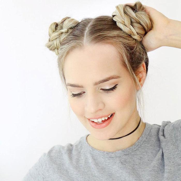 Double Bon, trendige und schnelle Frisur für den Alltag, für lange und mittellange Haare