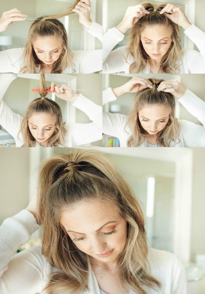 Half Up Ponytail, Anleitung in vier einfachen Schritten, Frisuren für wenig Haare, die Volumen verleihen