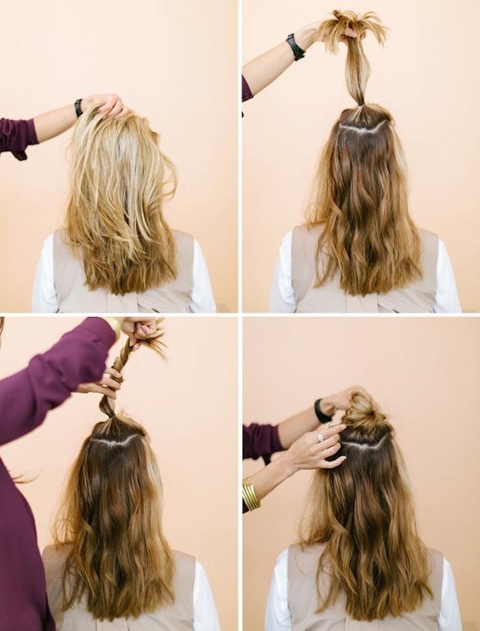 Half Up Messy Dutt selber machen, Anleitung in vier einfachen Schritten, schnelle Frisuren für den Alltag