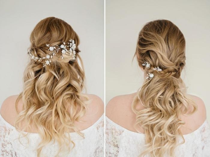 Zwei Frisuren für wellige Haare, silberner Haarschmuck mit kleinen weißen Blumen, dunkelblonde Haare