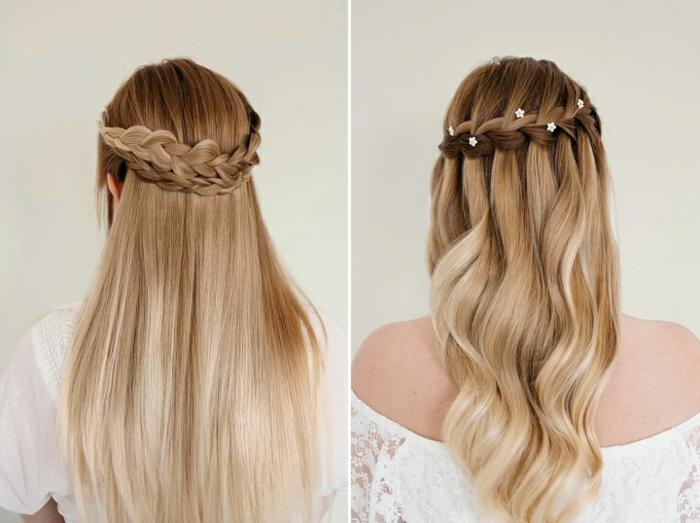 Zopfkranz in zwei Varianten, glatte und wellige Haare, schicke Frisur für langes Haar zum Nachstylen