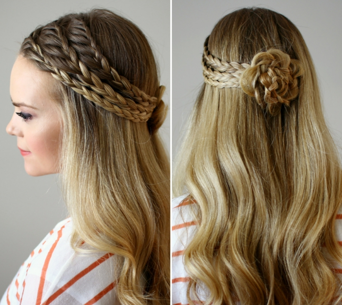 Zopfkranz mit Blume selber flechten, Frisur für lange Haare zum Nachstylen, passend für besondere Anlässe