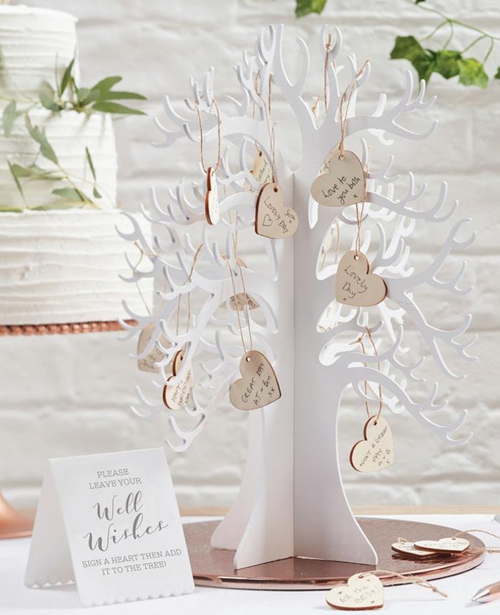 Tolle Alternative zum klassischen Gästebuch, kleine Holzherzen mit Botschaften oder Glückwünschen für das Ehepaar
