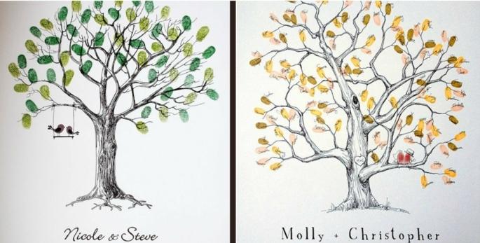 Tolle Gästebuch-Ideen für Herbst- und Frühlingshochzeit, Baum mit Fingerabdrücken gestalten