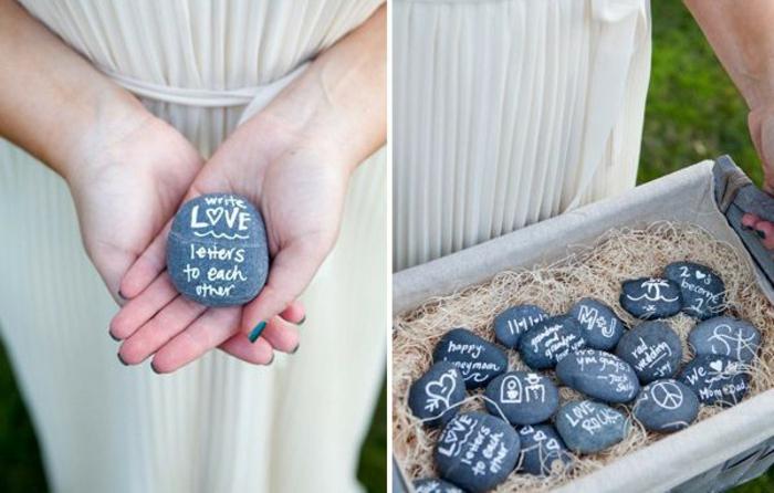 Etwas Lustiges oder Romantisches auf Steinchen aufschreiben, kleine Geschenke von allen Hochzeitsgästen