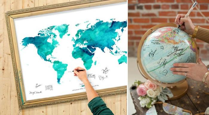 Zwei tolle Ideen für Hochzeitsgästebuch, auf Globus oder Weltkarte etwas schreiben oder zeichnen