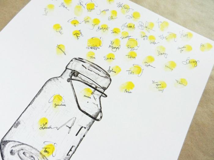 Hochzeitsgästebuch Idee zum Nachmachen, Einmachglas voll mit Leuchtkäfern mit Fingerabdrücken gestalten