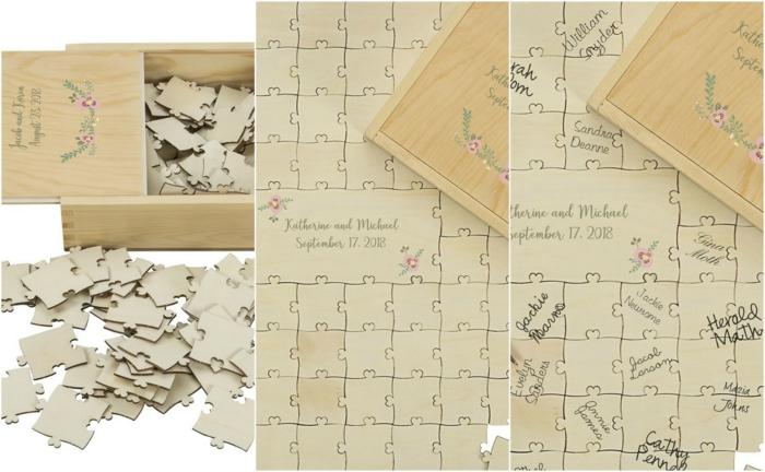 Hochzeitsgästebuch-Puzzle mit Botschaften oder Glückwünschen von allen Hochzeitsgästen
