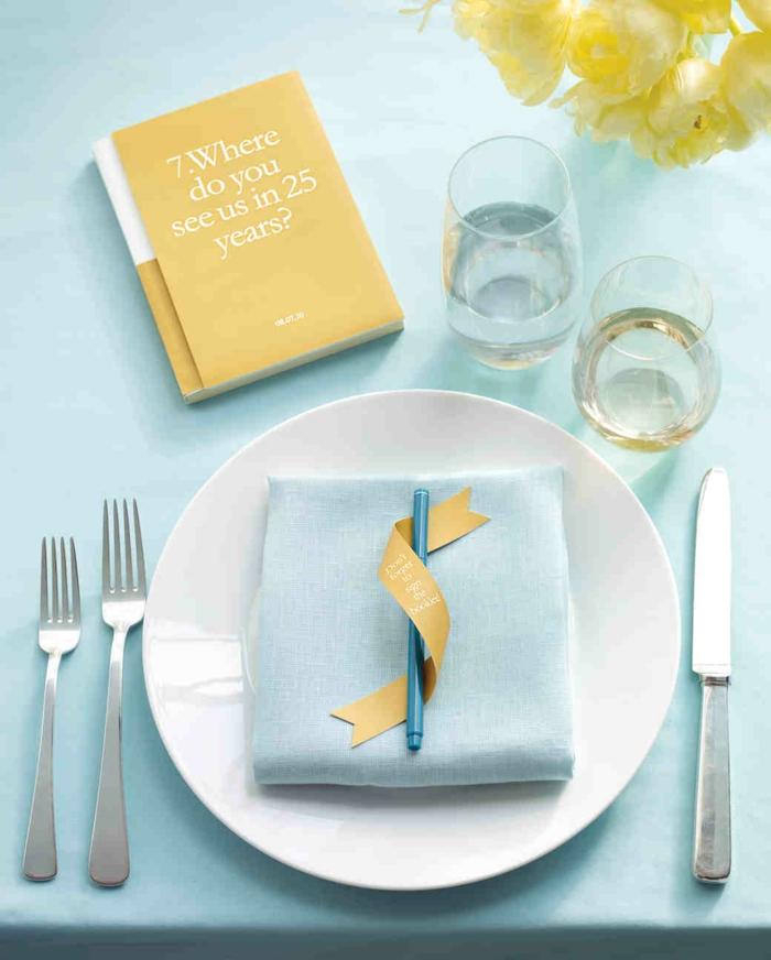 Coole Idee für Hochzeitsgästebuch, Wo siehst du uns in 25 Jahren, Tischdeko in Gelb und Hellblau
