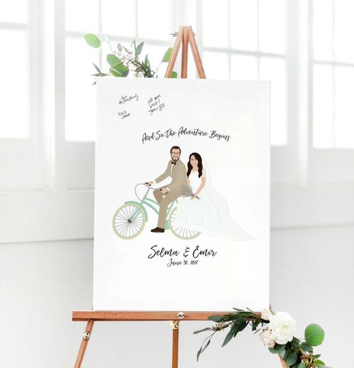 Leinwand als Hochzeitsgästebuch, lustiges Bild, mit Textmarker etwas aufschreiben oder zeichnen