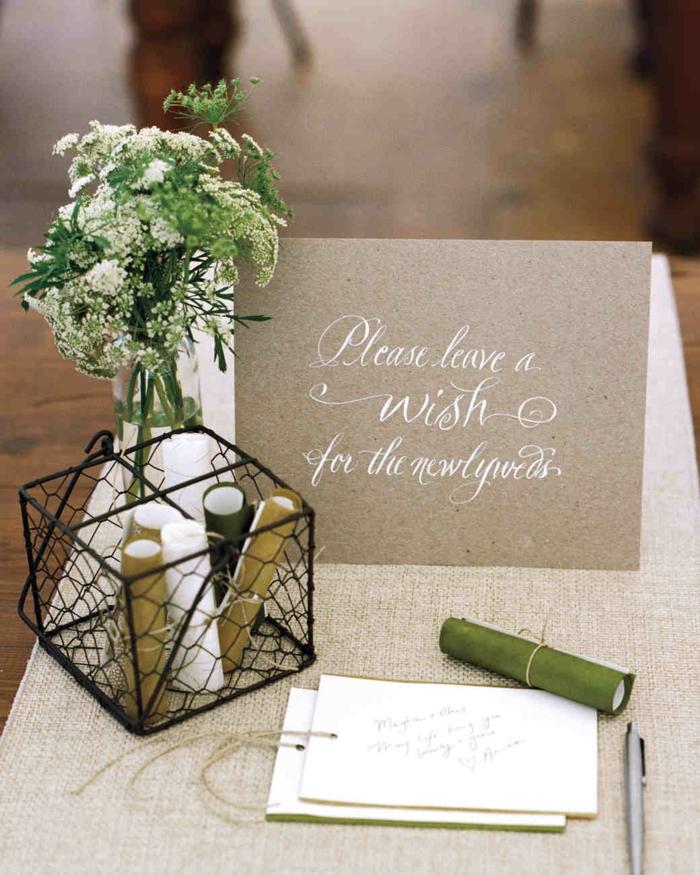 Hochzeitssprüche oder Glückwünsche auf kleine Notizen aufschreiben und einrollen, kleine Box und Blumenstrauss